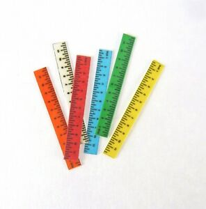 Dollhouse Miniature Set of 6 Colored Rulers, HR57010S