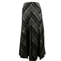 M&S Size 12 Grey Black Silver Striped Chevron Long Flared Skirt Autumn Winter
