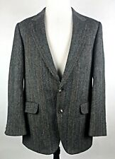 Bill Blass Mens 40R Gray Wool Solaro-Herringbone 2-Button Blazer Sports Coat Vtg
