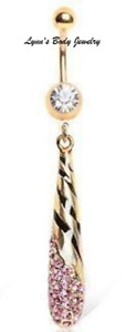 Unique Torch Fancy Teardrop * Pink CZ * Gold Plated Dangle Drop Belly Navel Ring