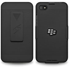 Amzer Shell Hard Case + Holster + Belt Clip Kickstand For Blackberry Z30 - Black