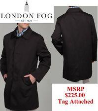 LONDON FOG MENS BLACK TRENCH RAIN COAT JACKET OVERCOAT 40R 40 R Regular NEW $225