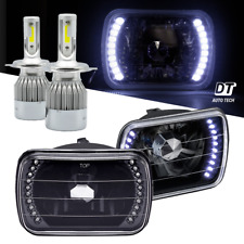"7""X6"" inch Headlights Sealed Beam Chrome Smoke Lens Halo Rings +100W H4 CREE LED"