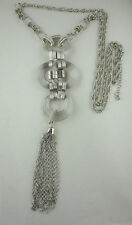 Dangling Silvertone Wire Spirals Design Multiple Chain Tassel Pendant Necklace