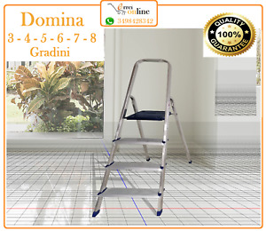 SCALA SGABELLO ALLUMINIO 3 - 4 - 5 - 6 - 7 - 8 GRADINI (DOMESTICA) DOMINA