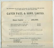 More details for gavin paul & sons limited prospectus mining 1898
