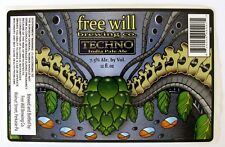 Free Will Brewing Co TECHNO - INDIA PALE ALE beer label PA 12oz STICKER