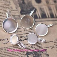 20PCS Silver Plate 12mm Round Blank Settings Earrings #22713