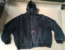 Mens 4XL Dickies Work Coat Lined Long Sleeve Zip Up Black Hood Barn Jacket READ