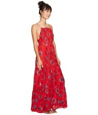 Free People Garden Party Smoked Maxi Dress - Red Combo  Size XS *NEW with Tag*