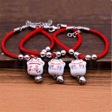 1pc Lucky Ceramic Fortune Cat Red Rope Bracelet Pendant Fengshui Blessing Gift