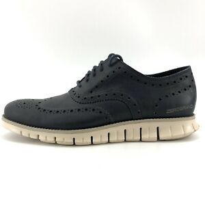 Cole Haan Mens Size 8.5 Zerogrand Navy Ink Leather Wingtip Oxfords C20753 H15