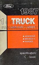 1987 Ford Service Technische Daten Buch Ranger Bronco II Aerostar Oem Manuell