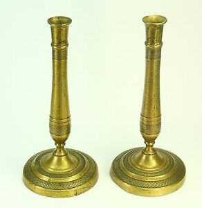 ! Antique c.1810 FIRST EMPIRE Pair of French Brass Candlesticks Candle Holders