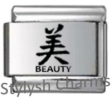 CHINESE SYMBOL BEAUTY Laser Engraved Italian Charm 9mm - 1 x LC004 Single Link