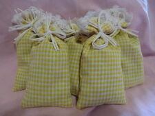 """4 Duftsäckchen Lemongras Schrankduft """"Karo gelb+Sp"""" Wäscheduft Zitronengras"""