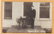 Real Photo Postcard RPPC - Man with Old Washing Machine Outdoors April 5, 1916