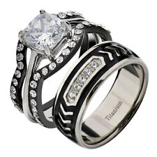 Titanium Wedding Engagement Ring Band Set Ly His Hers 4 Pc Black Stainless Steel