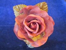 "Millinery Flower  Rose Pink Cinnamon Brown 3 1/2"" with 2 velvet leaves   G89"