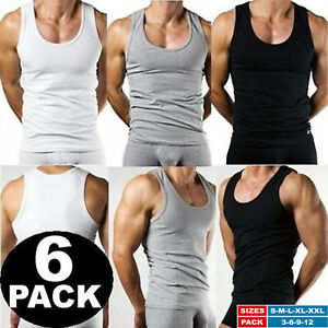 100% Pure Cotton Mens Boys 6 Pack Vests Gym Top Summer Training S M L XL 2XL