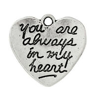 "50Pcs Charm Pendants Heart Message"" you are always in my heart"" Carved U6D2 H6U3"