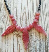 Artisan Pink Natural Carved Polished Stone Rose Quartz Leaf Bead Tribal Necklace