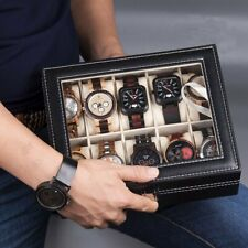 Portable 10 Slots Leather Watch Display Storage Rack Holder Organizer Box Case