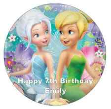 """Tinkerbell And Periwinkle Cake Topper Personalised Edible Wafer Paper 7.5"""""""