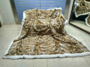Luxury Lynx Fur Throw 100% Real Lynx Blanket KINGSIZE Bedspread With Fox Outline