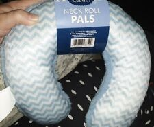 Cudlie Neck Roll Pals Pillow for Babies Neck, Reversible baby blue/chevron blue