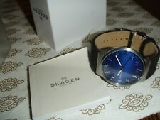 Skagen Men's Ancher Felt Leather Band 3-Hand Analog Blue Dial Watch SKW6232