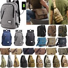 Men's Vintage Canvas Backpack Satchel School Shoulder Messenger Bags