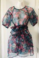 NWT ZARA  Multicolor VOLUMINOUS ORGANZA DRESS Floral Short Sleeve Size XS  O1414