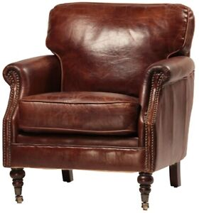 "33"" Wide club arm chair vintage brown cigar Italian leather comfort cool"