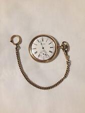 Antique WALTHAM Running Pocket Watch Estate 12K GF Chain Roman Numeral Jewelry