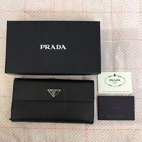 AUTHENTIC PRADA Saffiano Trifold Long Black Wallet