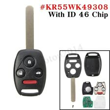 Remote Key Fob Keyless Entry ID46 Uncut Replacement For Honda Pilot Accord