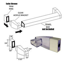 Clear Acrylic Towel Bar Brackets with Satin Chrome Sleeve