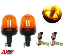 2 Led Rotating Amber Warning Beacon Lights Spigot Mount Agricultural Vehicles #C