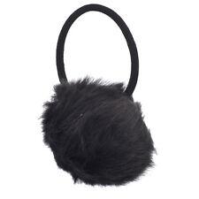 Lux Accessories Black Faux Fur Pom Pom Stretch PonyTail Holder