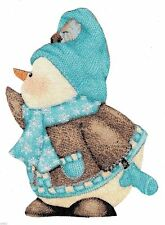 New listing snowman Whimsical blue heat transfer iron on not embroidered 3 to 5 inch