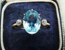 Big beautiful 3.50ct aquamarine diamonds trilogy 18ct and white gold ring