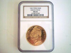 1967 PERU 50 SOLES INDIAN HEAD GOLD COIN