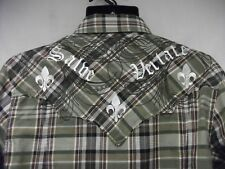 Mens Monarchy Button Up Collar Long Sleeve Dress Shirt Size M Military green