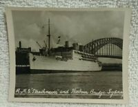 Sydney Australia Steamer P&O Ship RMS Strathnaver Photo Image Bridge Harbor Vtg