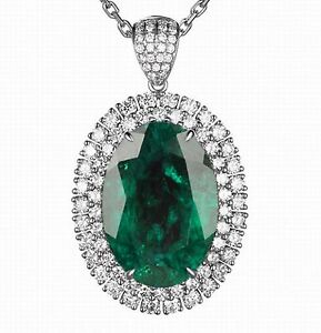 14KT White Gold Natural Green Emerald 1.50CT IGI Certified Diamond Pendant