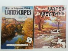 (2) Vintage How To Draw & Paint Lanscape Walter Foster & Water & Weather Charles