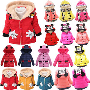 Toddler Girls Baby Minnie Mouse Winter Warm Hooded Coat Jacket Parka Outerwear