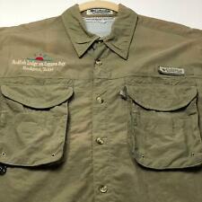 Columbia PFG Redfish Lodge Men's Short Sleeve Button Up Shirt Medium M Green