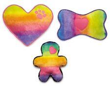 Rainbow Dog Toys Soft Plush Colorful Squeaker Ombre Choose Heart Bone Pal or Set